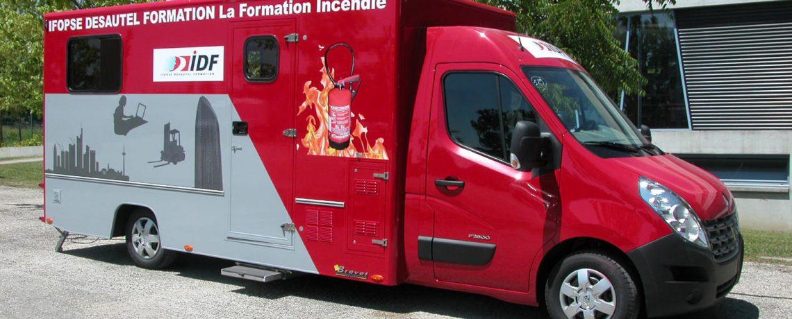 Camion d'entraînement Ifopse centre de formation sécurité intervention
