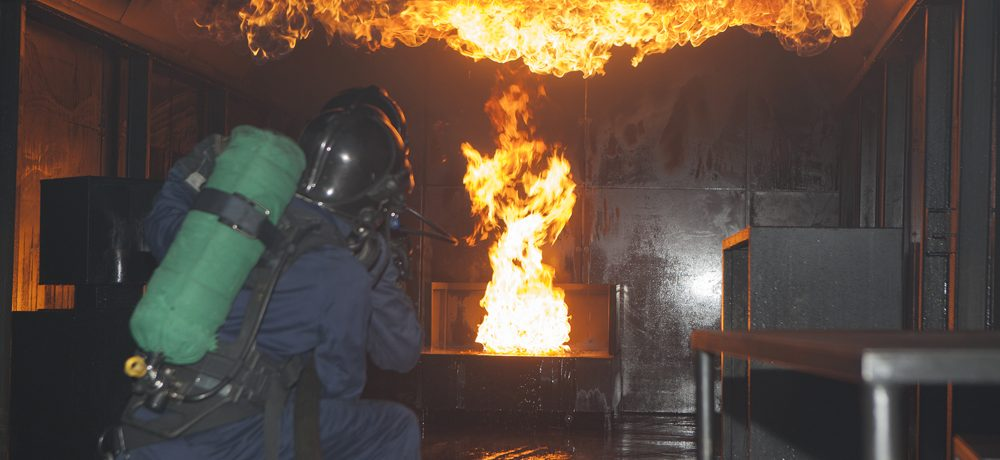 Intervention sur incendie lors d'une formation au centre de formation incendie Ifopse