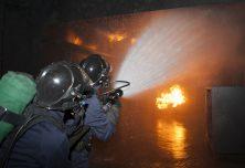 Formation intervention sur feu avec lance à eau