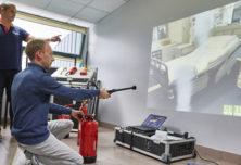 Manipulation des extincteurs sur simulateur lors d'une formation incendie Ifopse Centre de formation sécurité en entreprise & incendie