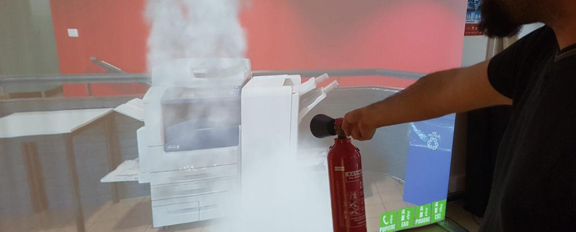 Simulateur incendie imprimante par le Centre de formation sécurité en entreprise & incendie Ifopse
